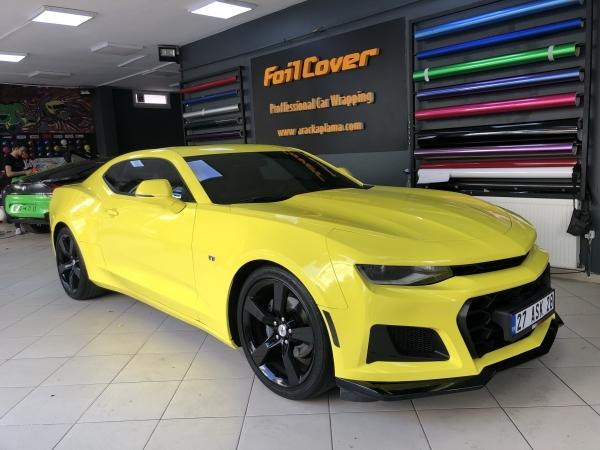 chevrolet camaro opak sarı kaplama araç kaplama fiyatları 2019 foil cover araç kaplama