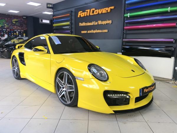 porsche 911 opak sarı kaplama araç kaplama fiyatları 2019 foil cover araç kaplama