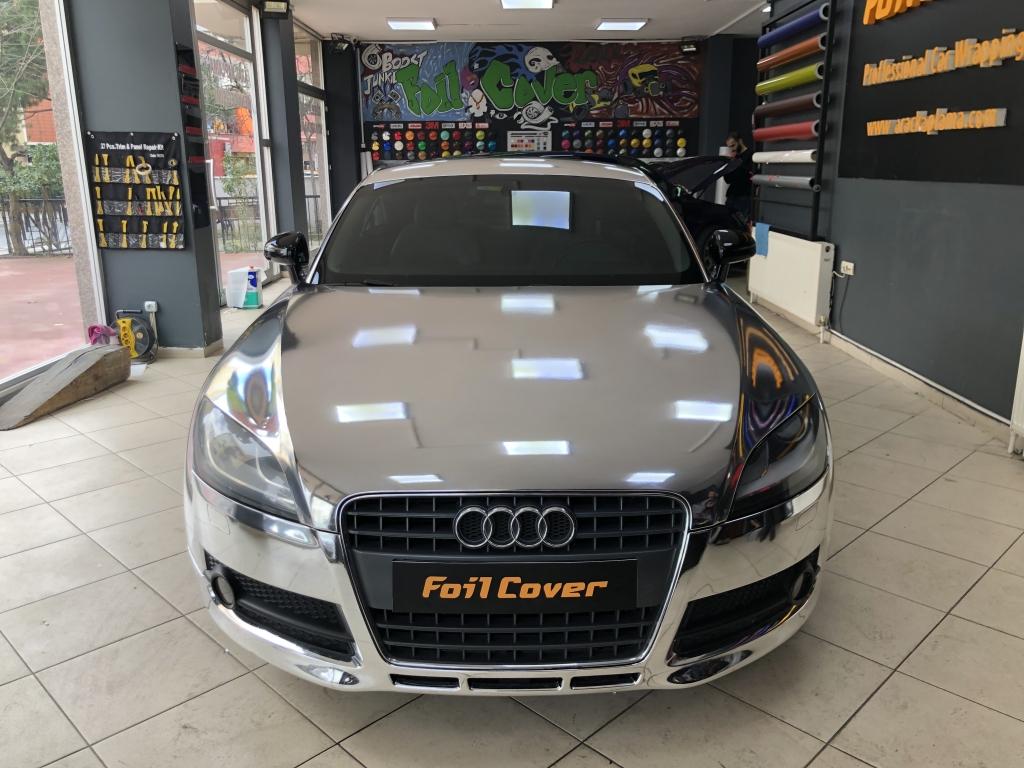 audi tt gümüş krom araç kaplama fiyatları 2019 foil cover araç kaplama