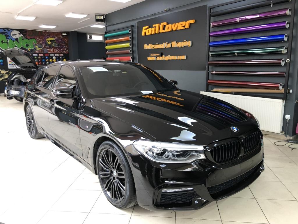 bmw 5 serisi siyah araç kaplama fiyatları 2019 foil cover araç kaplama